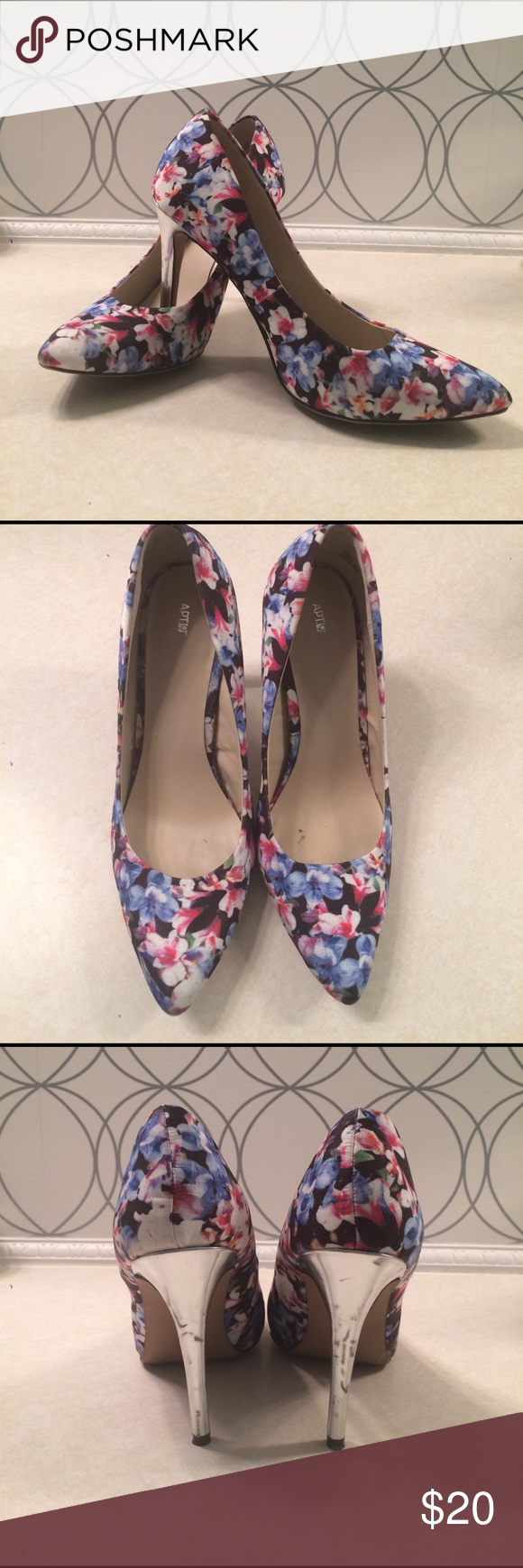 Floral heels 👠 Step into spring with these must haves! So fun and flirty. Only worn twice, some minor scuffing on heels as pictured, otherwise in great shape! True to size, 4' heel. Offers welcome! Apt. 9 Shoes Heels