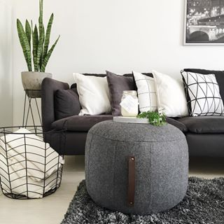 Ottoman/pouf, giant pretty blanket basket, and plant with stand or on table?