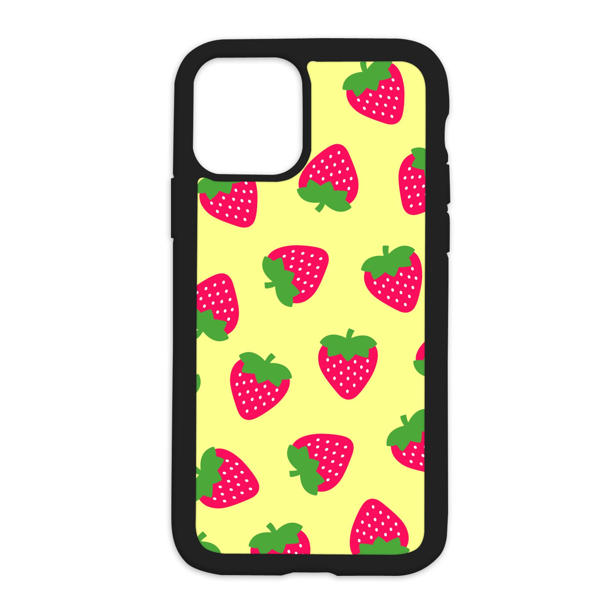 Strawberry Pattern Design On Black Phone Case - XS MAX / Yellow