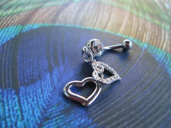 belly button rings crystal bling double heart body by sindys