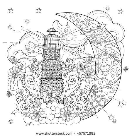 Cute Lighthouse On Christmas Half Moon With Stars And FlowersAdult Anti Stress Coloring Book Or Tattoo Boho Style