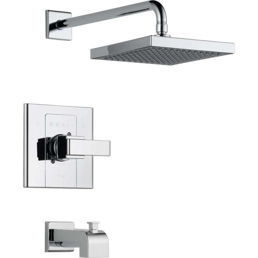 The Arzo Single-Handle Tub and Shower Trim from Delta is  inspired by geometric designs found in mid-century modern furniture. Finished in brilliant chrome, the kit features a single-handle lever design that makes it easy to control temperature.