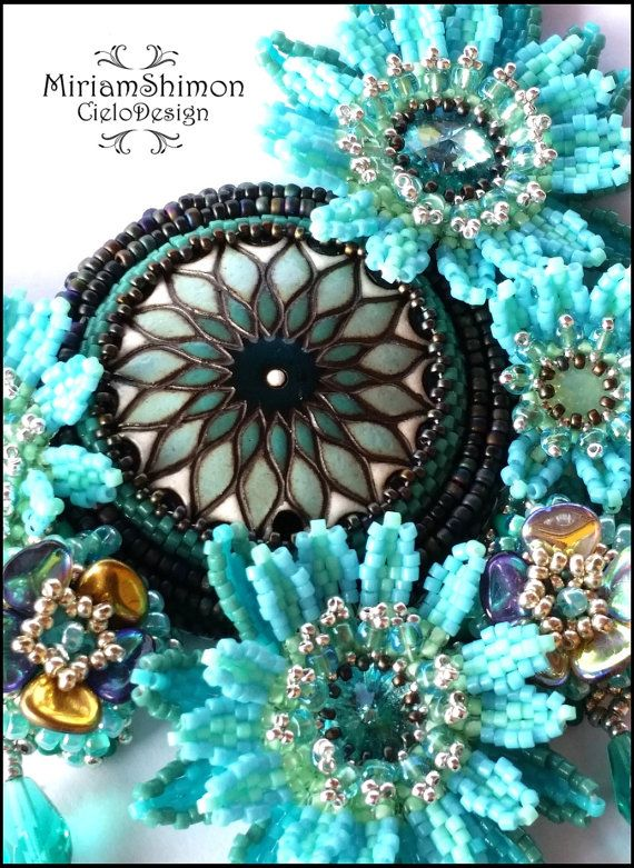 Bloom of the Sea Beaded necklace in Turquoise dark by MiriamShimon