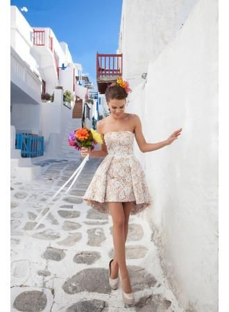 USD$139.00 - Hi-lo Gorgeous White Lace Cocktail Dress Strapless - www.27dress.com