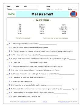 Bill Nye Measurement Worksheet Answer Sheet And Two Bill Nye Measurement Worksheets Word Bank