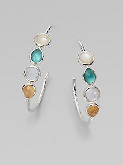 Ippolita - Mother-of-Pearl & Clear Quartz Sterling Silver Hoop Earrings/1.5