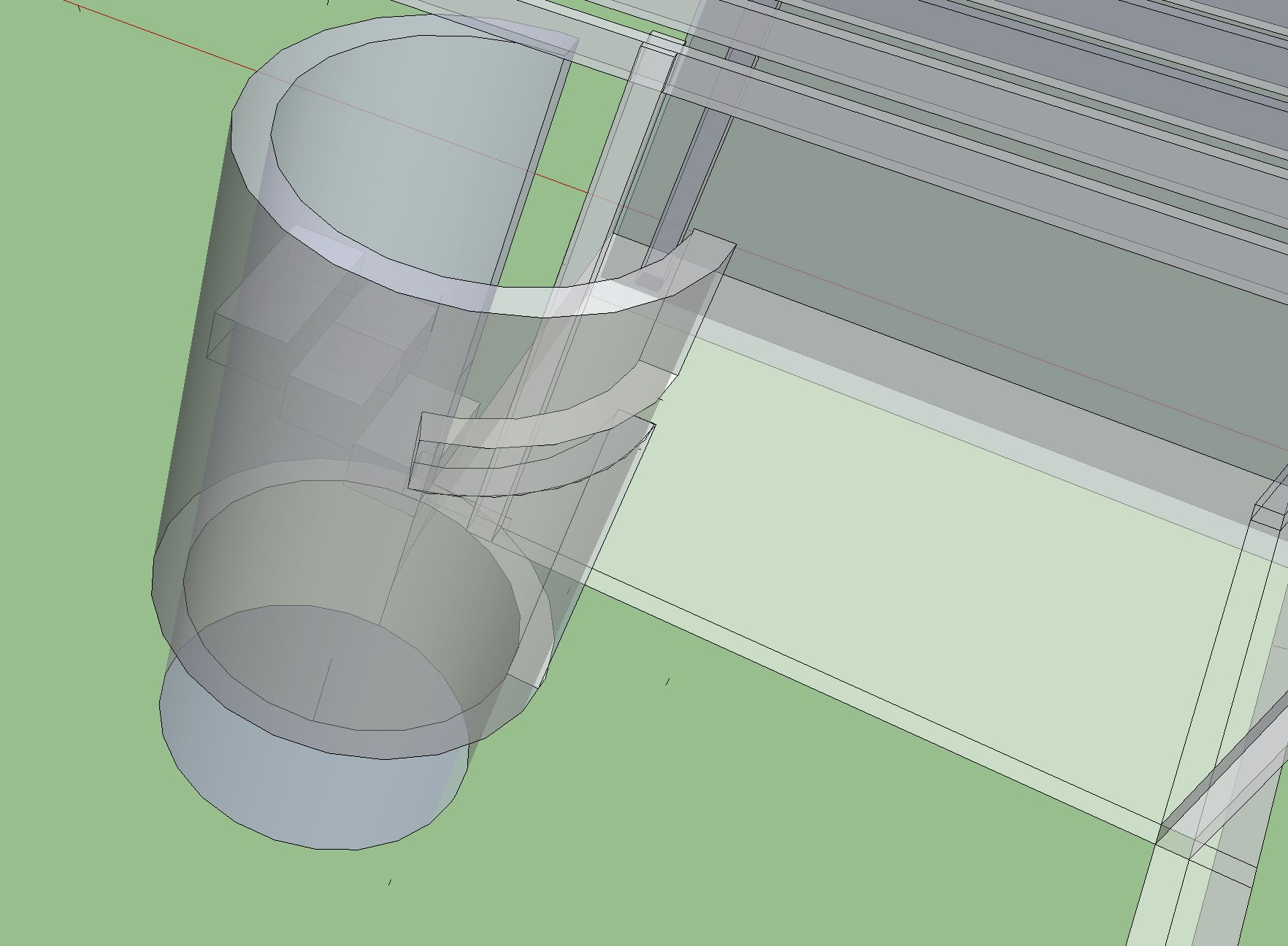 slit opening in shower/tub wall
