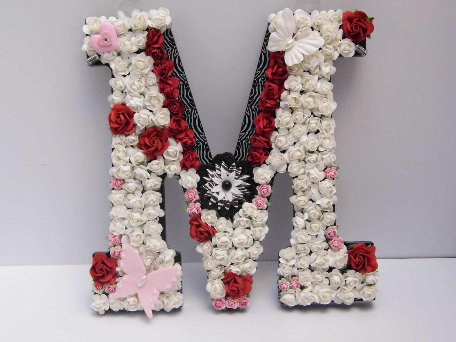 Monogram Wall Hangings floral letter m hand decorated monogram wall hanging pink red