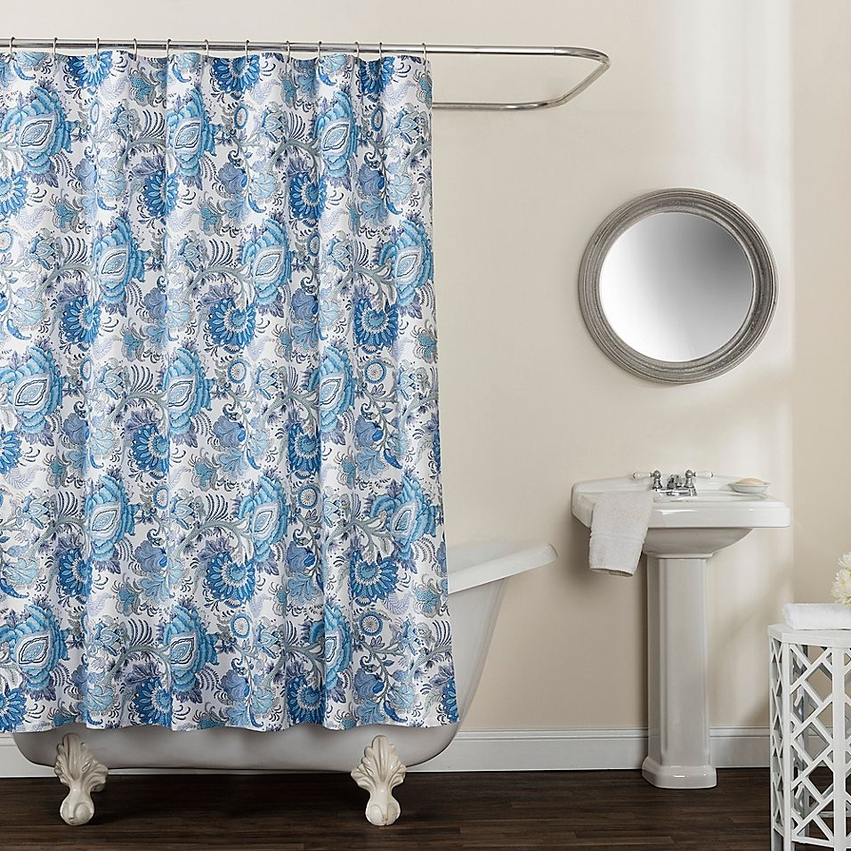 Avignon Floral 72 X 96 Shower Curtain In Blue In 2019 Curtains Floral Shower Curtains 96 Inch Shower Curtain