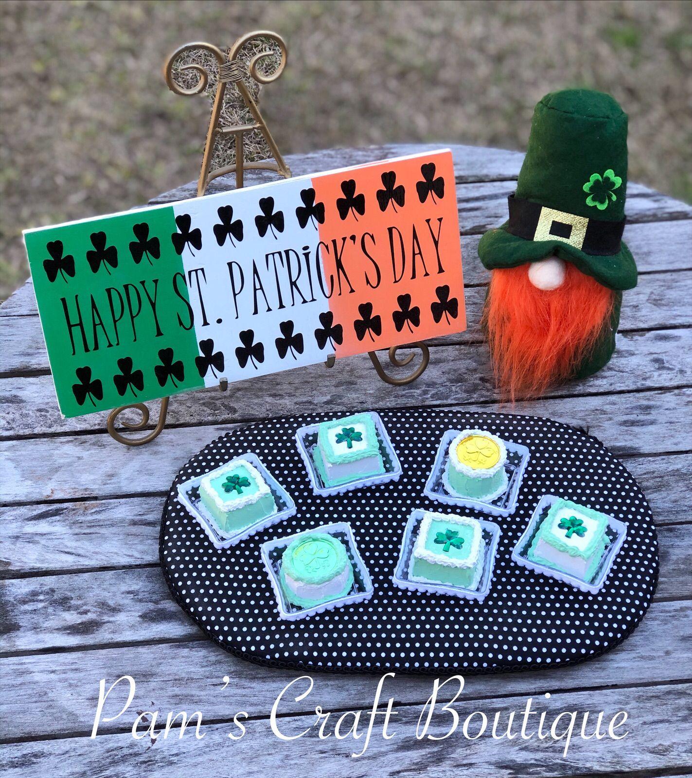 St. Patrick's Day mini cakes, Fake Petit Fours, St. Patrick's Day Fake Cake, St. Patrick's Day Decor, Coffee Bar Decor