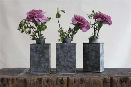 Galvanized Vase Set of 3