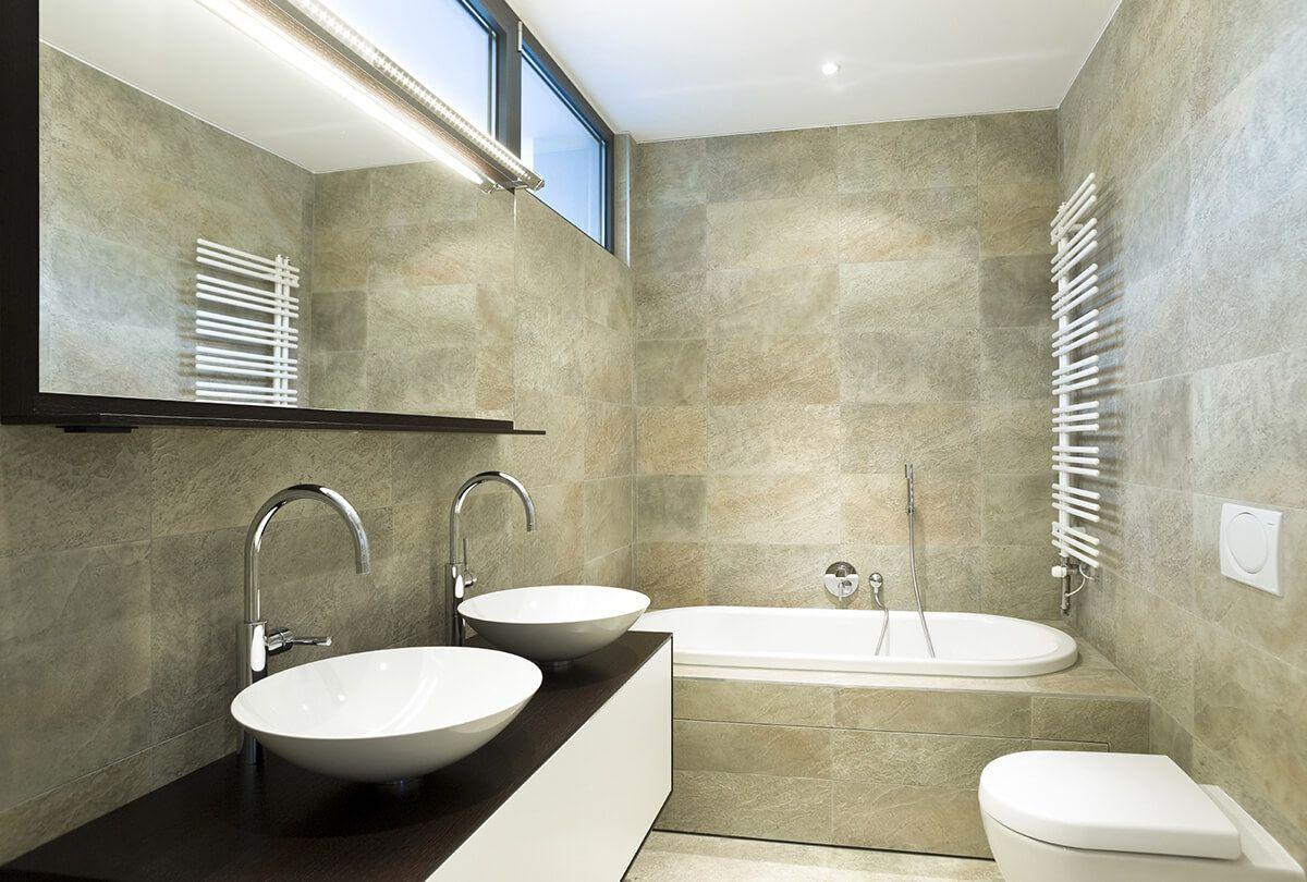 Double Vessel Sinks Over White Vanity | Bathroom Ideas | Pinterest ...