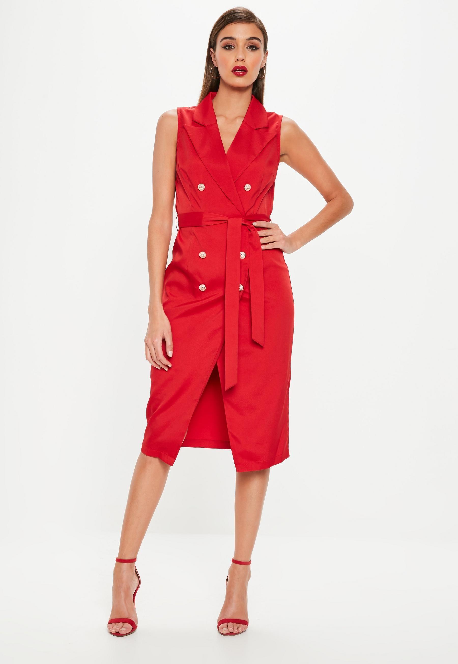 d92b20ad861a2f Red Sleeveless Belted Midi Blazer Dress