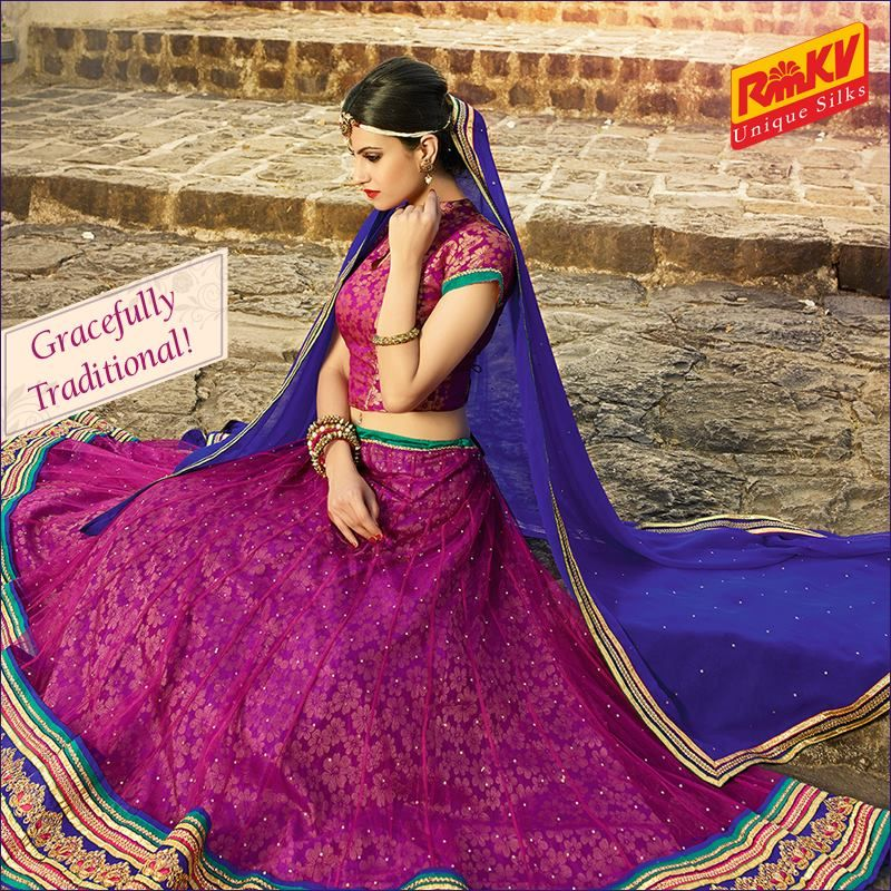 Let the grace of your presence show in this lovely lehenga in pink color. It has a netted skirt and a contrasting blue dupatta. Order now - https://www.rmkv.com/product/lehengas17-25151