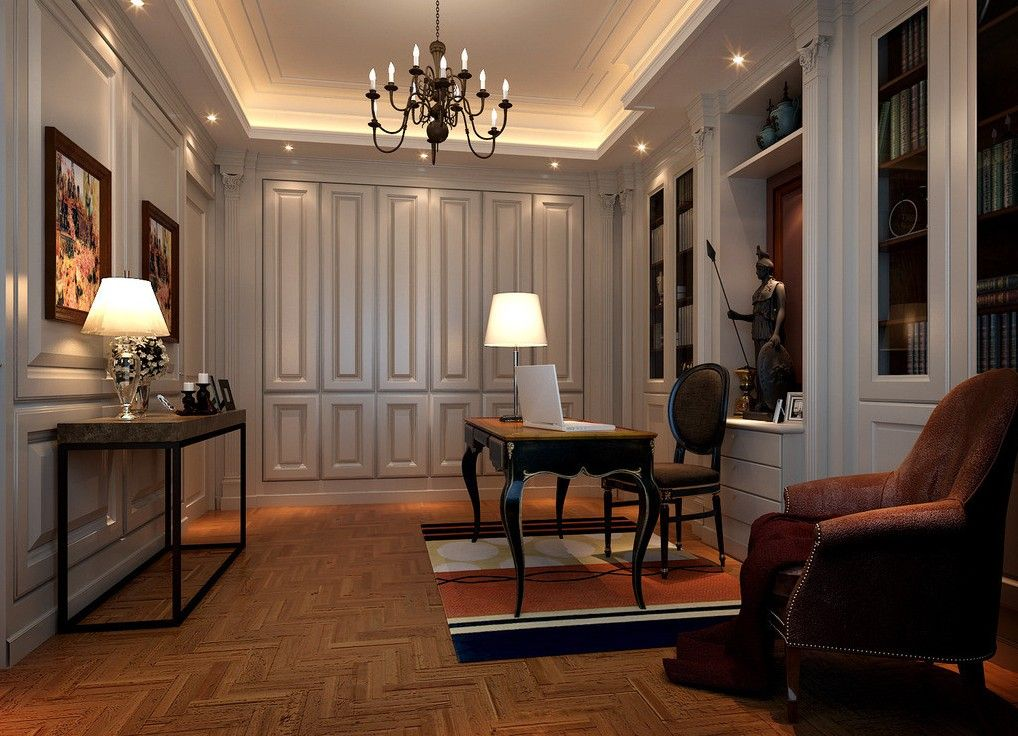 Study Neoclassical Interior Lighting Design