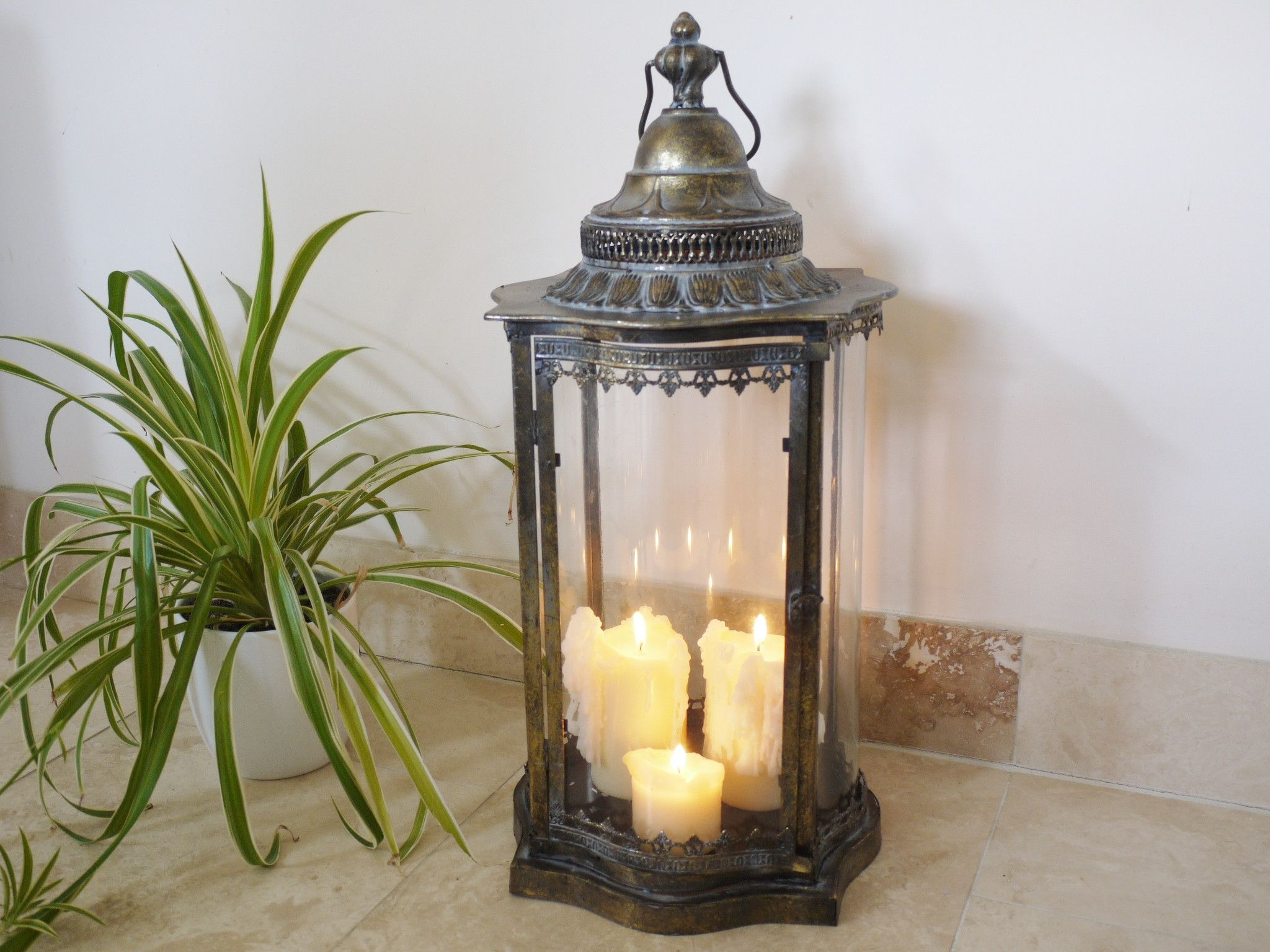 Marrakech Floor Lantern From Olive And Sage Metal Candle Lanterns Candle Lanterns Brass Candle Lanterns