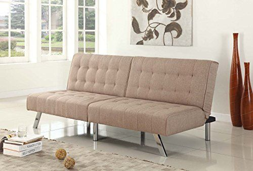 Light Brown Cavas Linen With Split Back Adjule Klik Klak Sofa Futon Bed Sleeper Convertible Quality