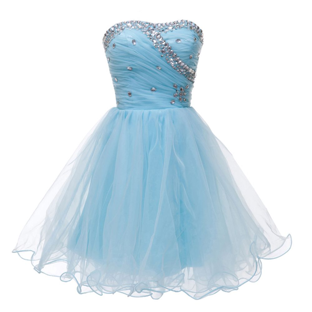 Sweetheart Ball Gown Evening Dress Party Short Tulle Prom Dresses ...