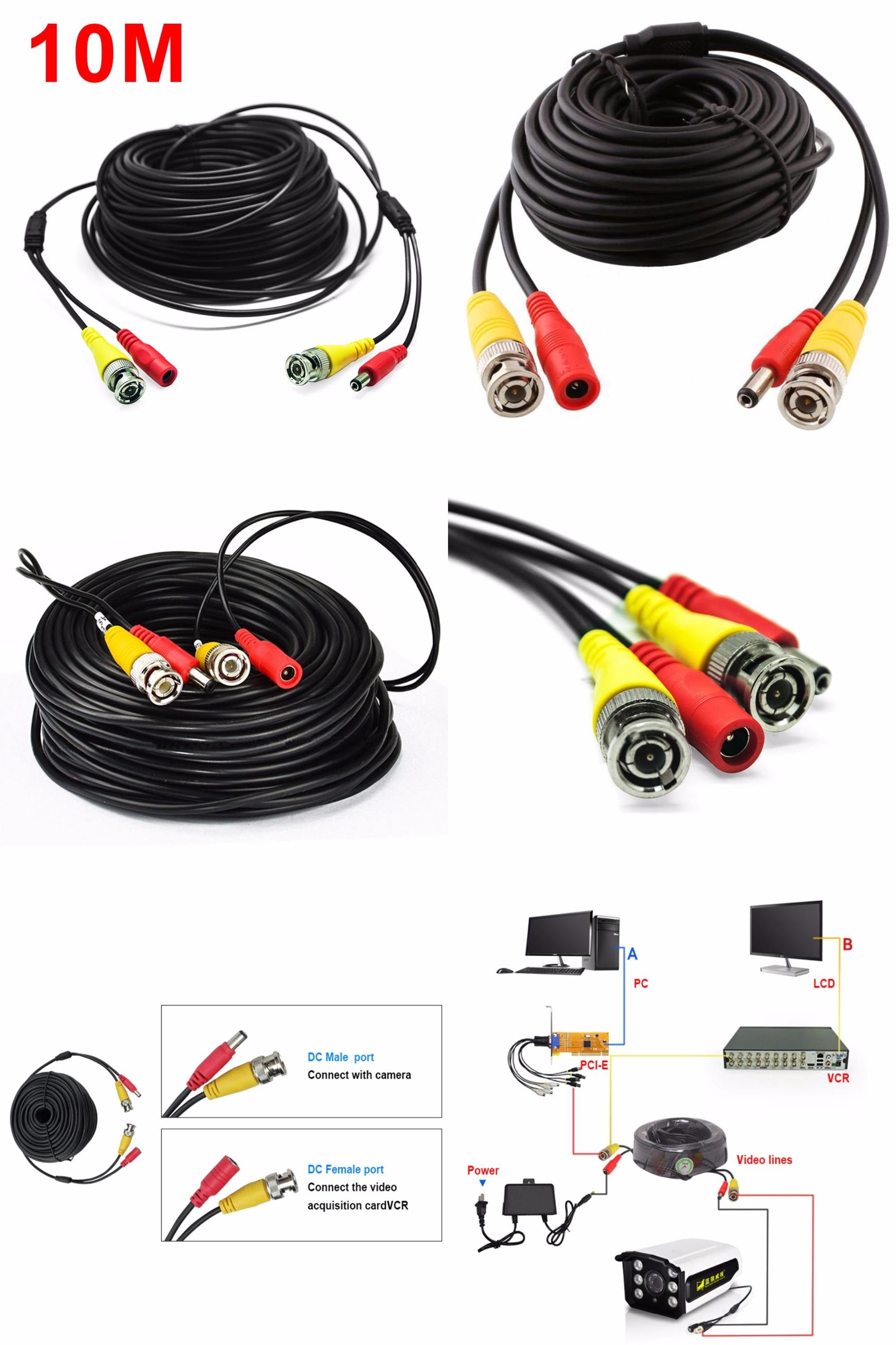 Visit To Buy 33feet 10m Black Bnc Rca Audio Video Power Extension Cable Dvr Surveillance Wire For Cctv Security Cctv Security Cameras Security Camera Camera
