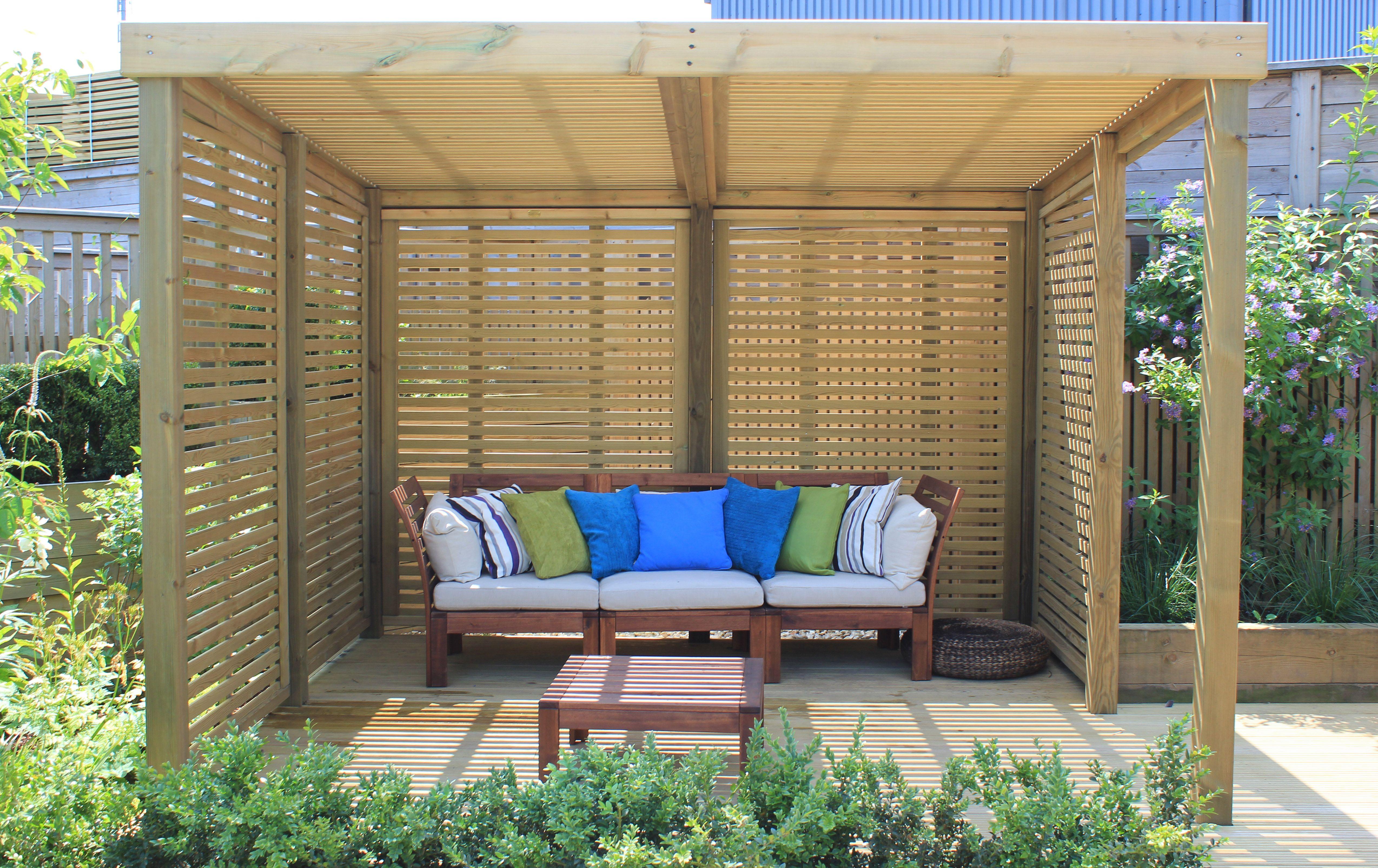 Pictured: Jacksons Fencing Retreat Garden Shelter #garden #design #shelter  #timber