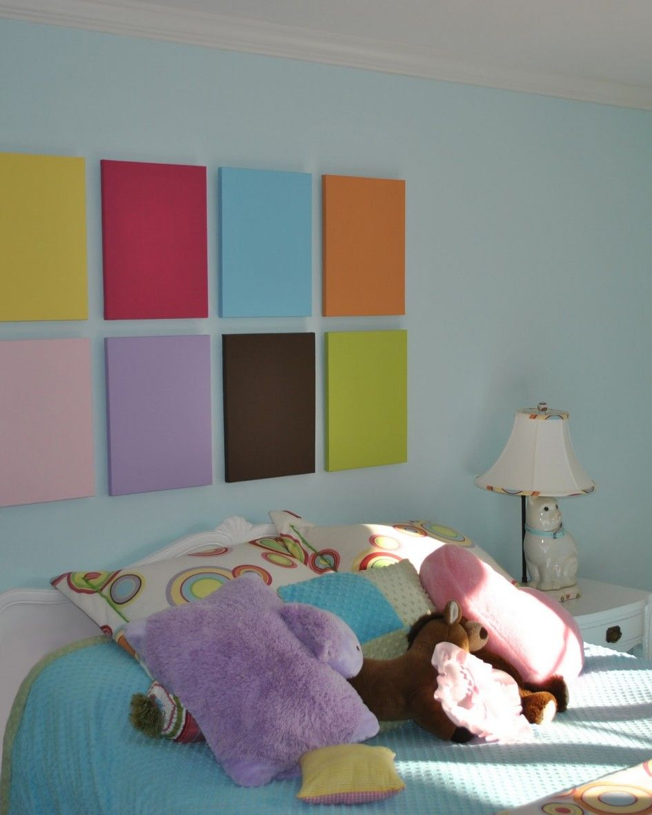 Bedroom, Miraculous Colorful Frame Wall Decoration With Chic ... on
