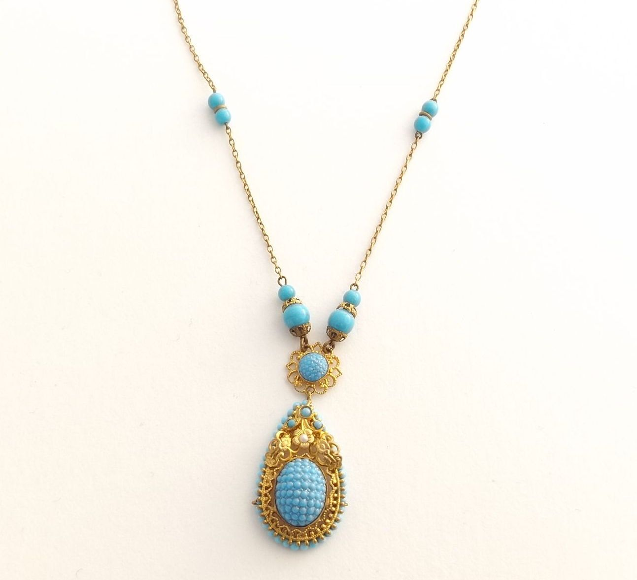 Antique Blue Glass Lavalier Necklace | Gold Tone, Faux Pearl, Power Blue And Turquoise Glass Costume Necklace by DaisysCabinet on Etsy