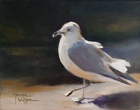 "Soft Landing by Norma Wilson Oil ~ 11"" x 14"""