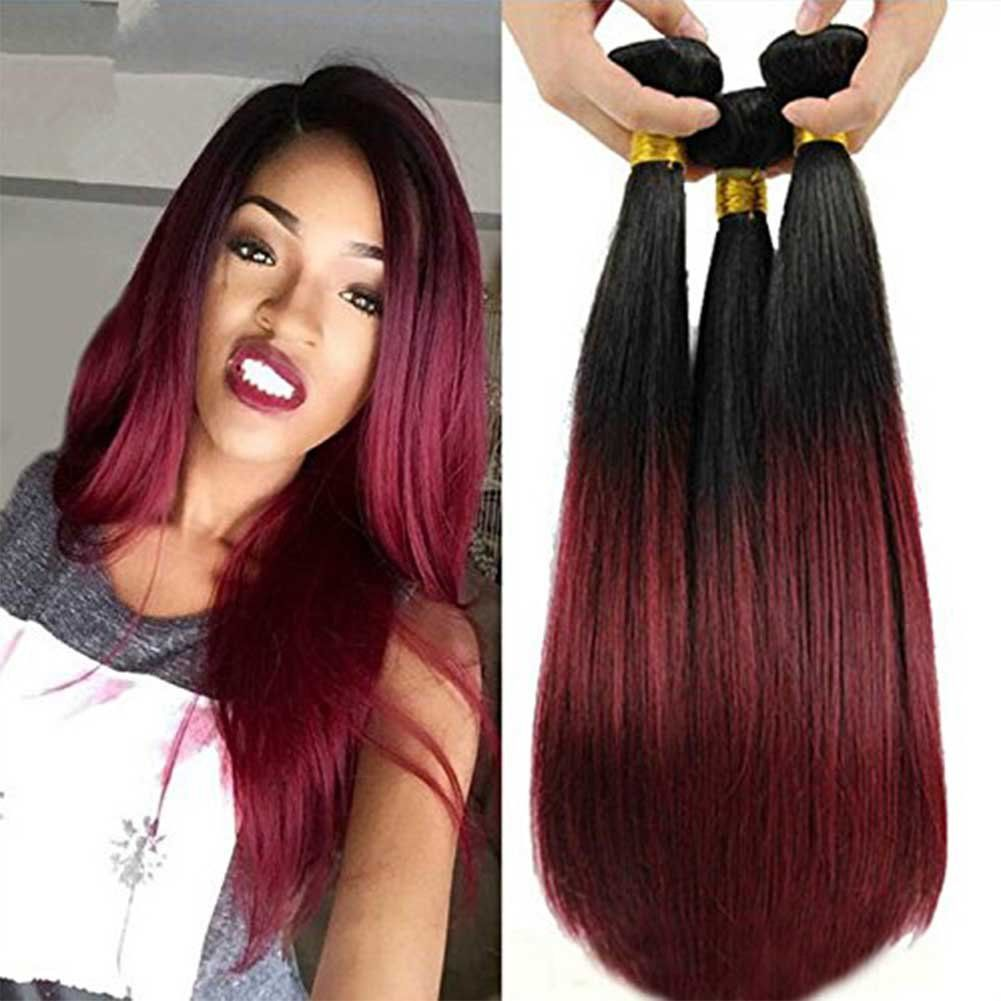 Top Hair Malaysian Ombre Burgundy Hair Extensions Black To Red