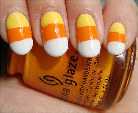 Cute candy corn nails for Halloween. I do this every year! - Candy Corn For Halloween! Nails Pinterest Candy Corn, Candy