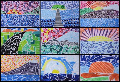 Art With Mr Hall: landscape mosaic from painted paper