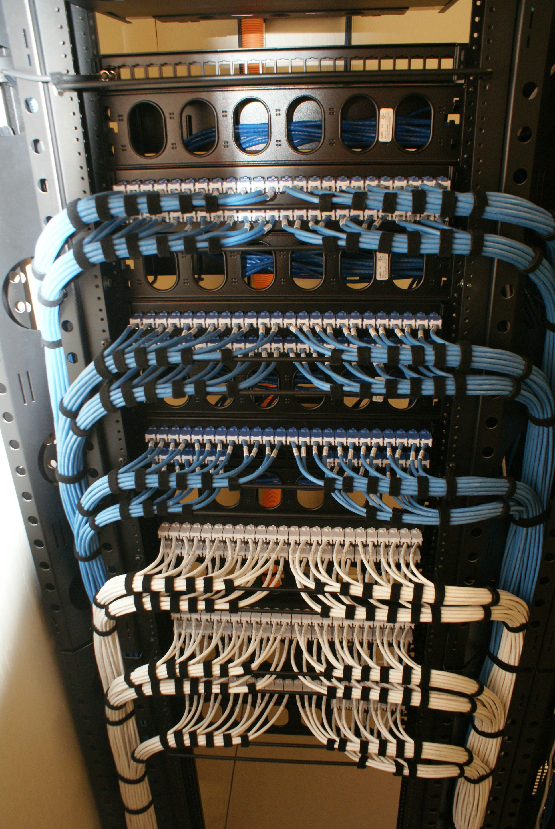 beautiful work down in a converged voice and data network the blue lines are data and white are voice all cat 6 ethernet cables  [ 1944 x 2904 Pixel ]