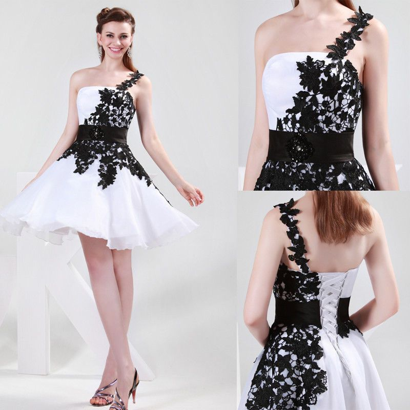 One shouder Lace Bridesmaids Formal Prom Ball Gown Evening Party ...