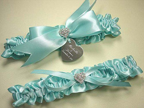 Robins Egg Blue Wedding Garter Set in Satin with Rhinestone Hearts and Personalized Engraving ** Check out this great product.