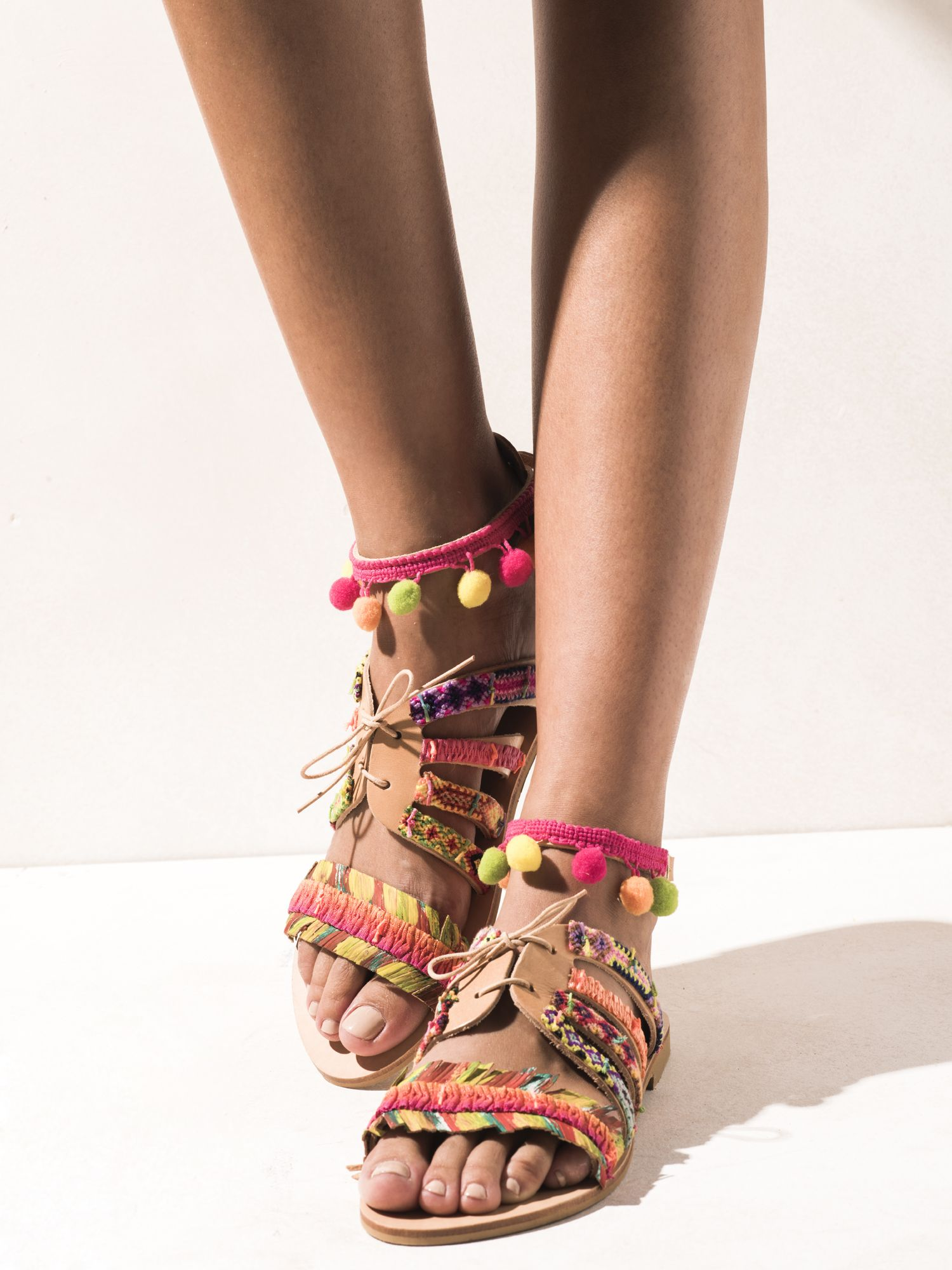 cf86cc591d0c Handmade soft leather greek sandals decorated with handmade friendship  macrame from Thailand