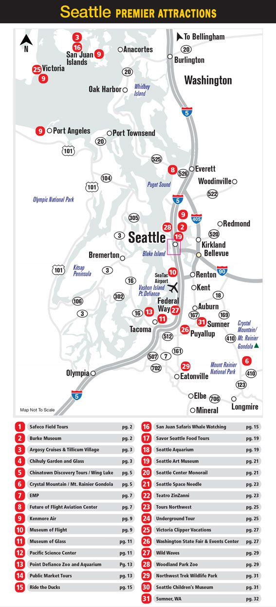 Seattle attractions map Washington State Pinterest Seattle