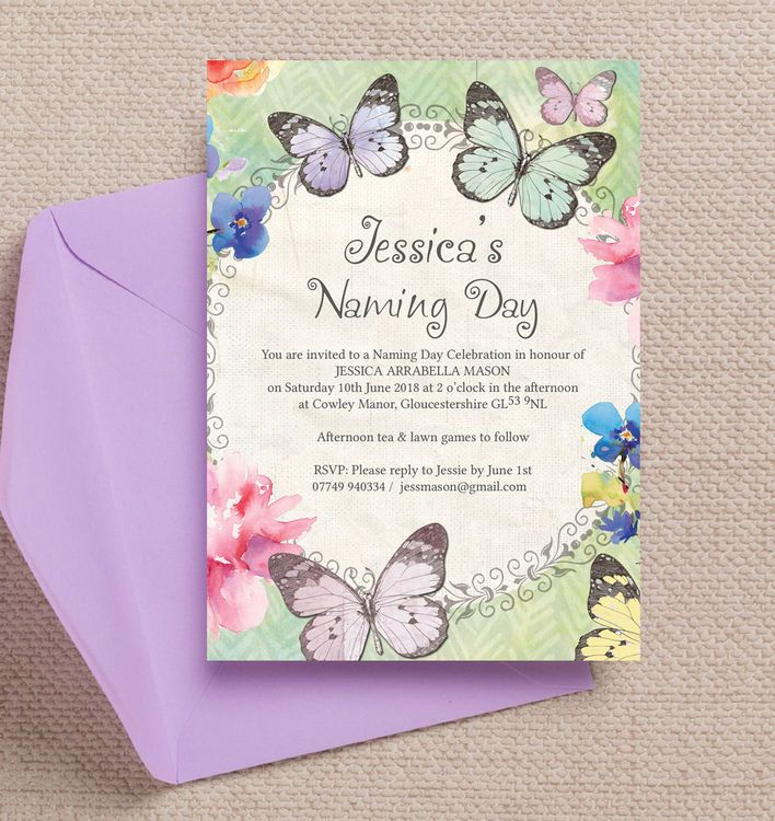 Butterfly Garden Naming Day Ceremony Invitation  Naming Ceremony