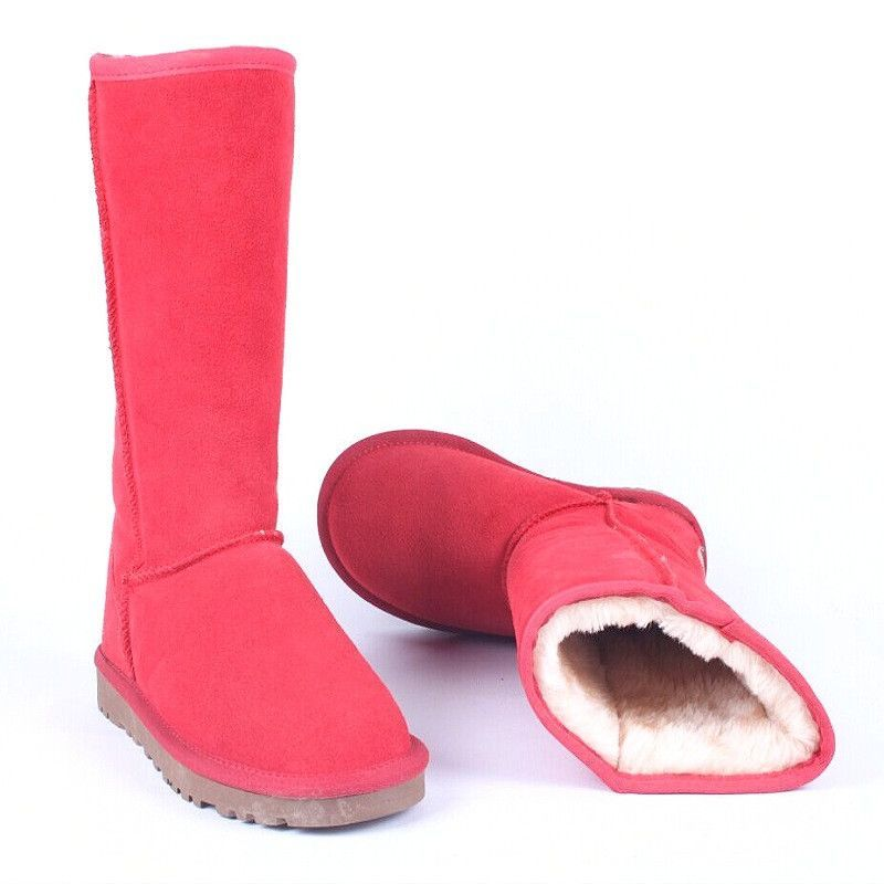 New Fashion Australia Women Snow Boots 100% Cowhide Wool Round Toe Slip on Winter Warm Genuine Leather Boots Shoes Woman U815