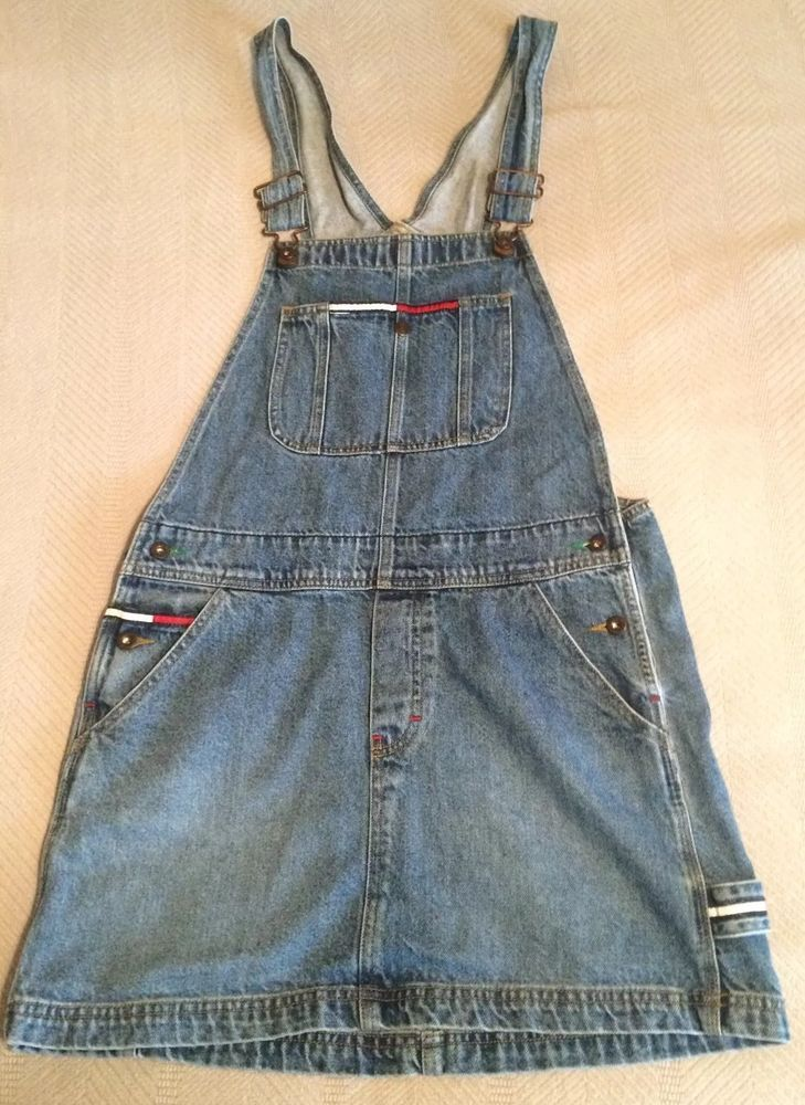Tommy Overalls Skirt Denim Tommy Hilfiger Girl Size Large Juniors #TommyHilfiger #Overalls #Skirt