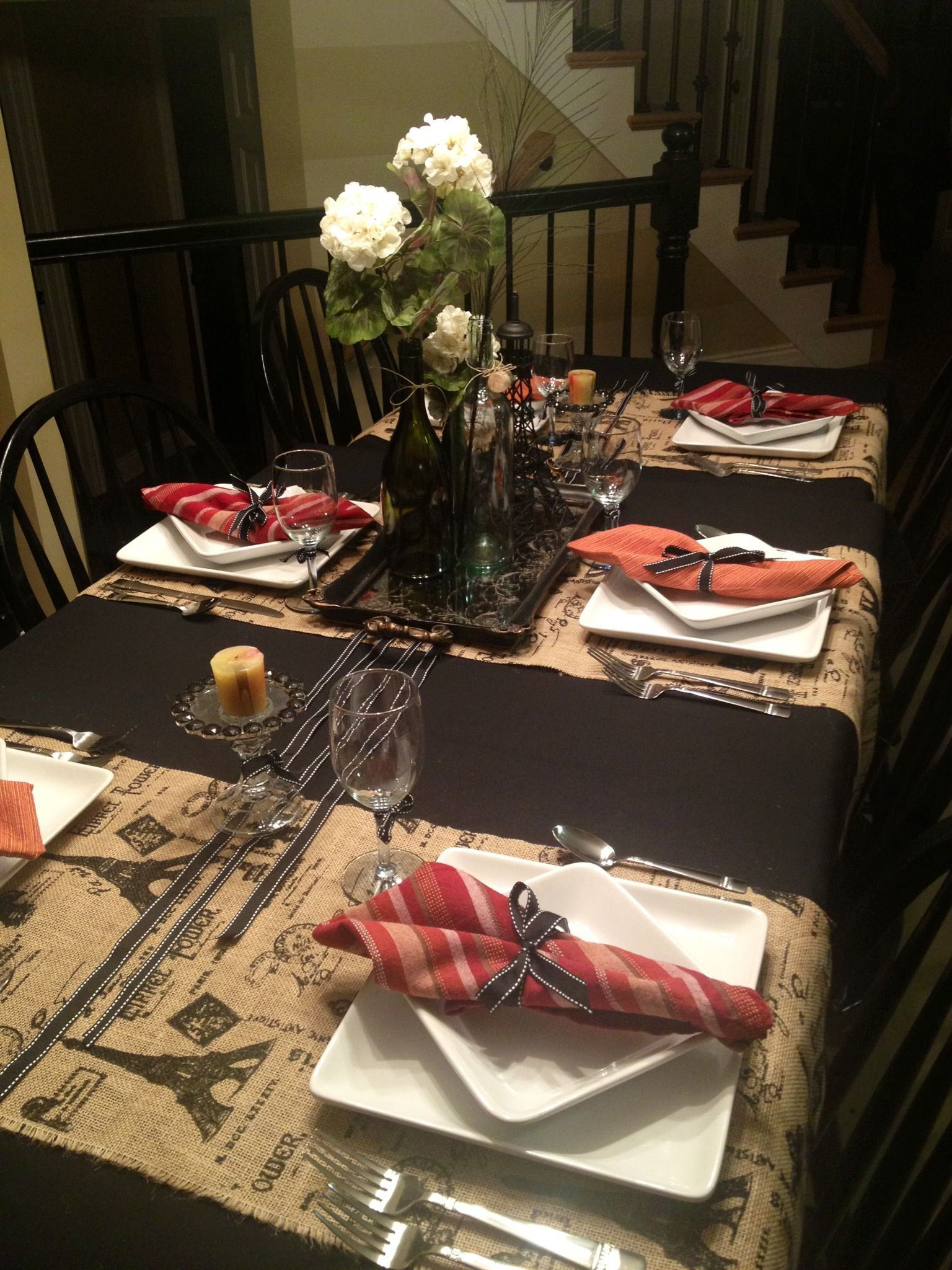 French Themed Table Setting. Centerpiece made with