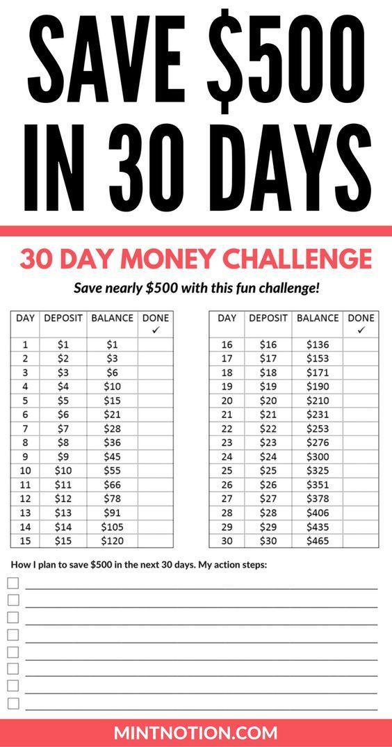 Money Challenge: How To Save $500 In 30 Days | Budget/Saving | Money challenge, Savings ...