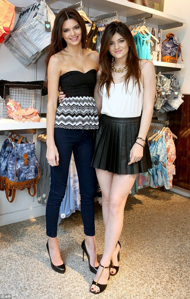 846c165291c96 Stylish sisters: Kendall and Kylie Jenner promoted their new clothing line  for PacSun at a store in Santa Monica, California on Friday