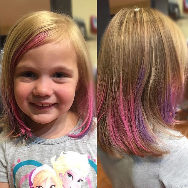Every Little Girl Needs Bit Of Pink This Fashionista Got A Little Purple Too Kevinmurphy Colorbugs Done By Ragingnina Hair Chalk Hair Styles Hair Wrap