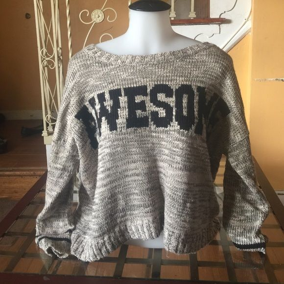 Cozy, warm sweater!! Scoop neckline, pullover style, long sleeves with drop shoulders. Textured appliqué lettering in front. Slight pulls at bottom of sweater, pictured above. Medium, but fits like a Large (IMO) Sweaters