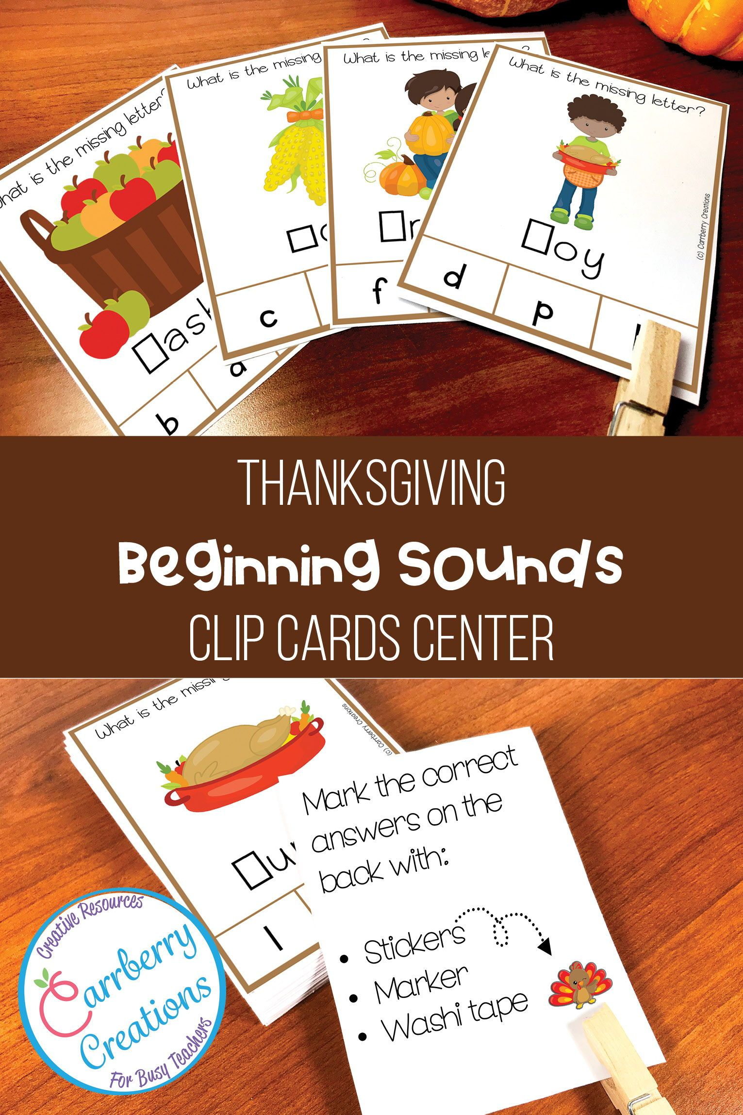Thanksgiving Beginning Sounds Task Cards Center