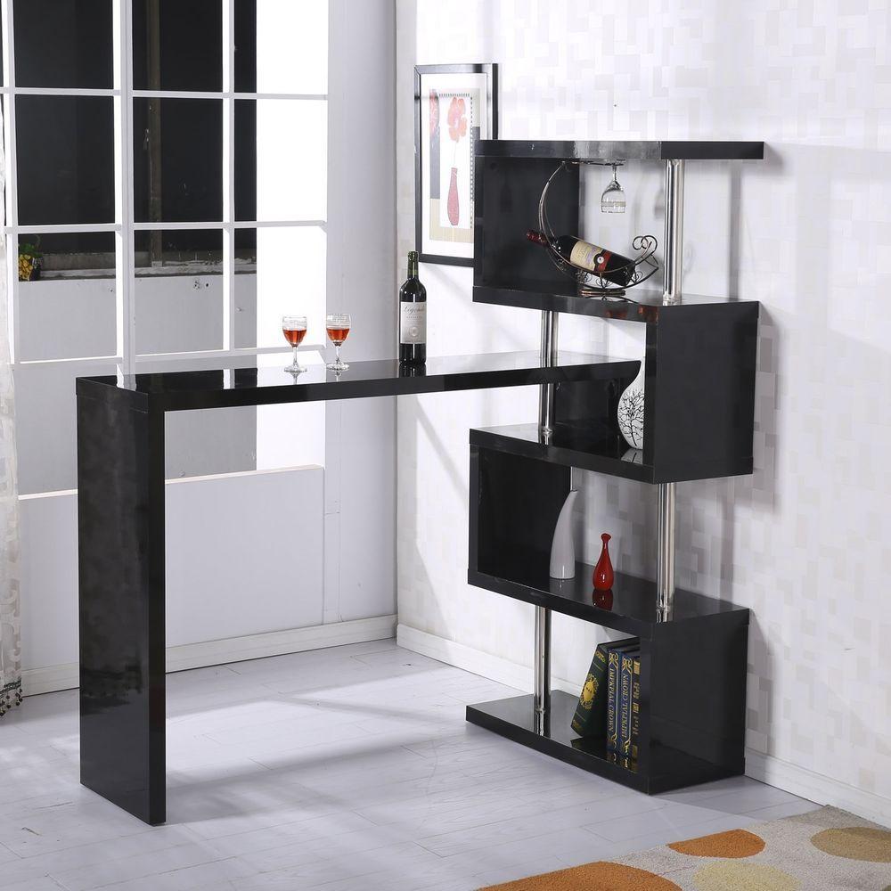 Modern Bar Counter Beverage Table Storage Display Wood Shelf Furniture  Adjusted