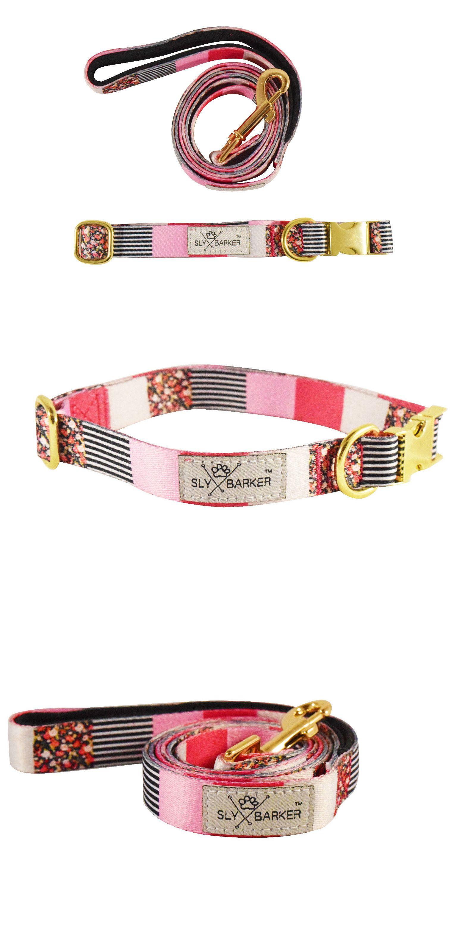 Collars 63057 coral pink floral dog collar leash set gold