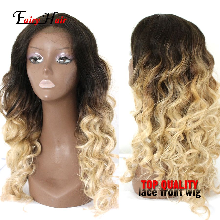 Synthetic lace front wig wave blonde glueless ombre twotone silk