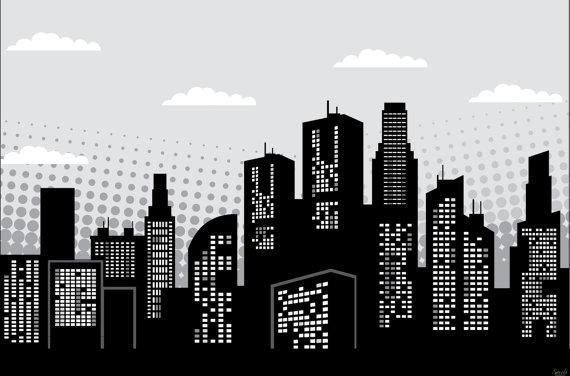 Super Hero Party Background Printable Pdf Black White City Scene 40 X 60 Plus Word Props Instant Download Di 2020