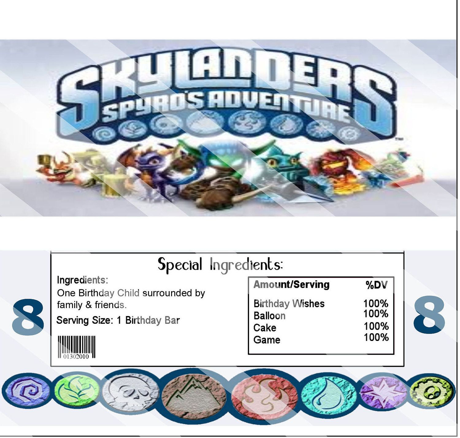 Skylanders Party Favor Hershey Chocolate Candy Wrapper, Printable ...
