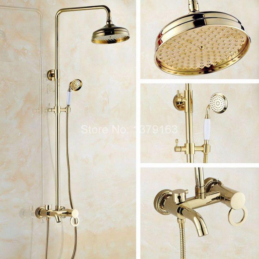 Modern Gold Color Brass Wall Mounted Single Handle Bathroom 8\